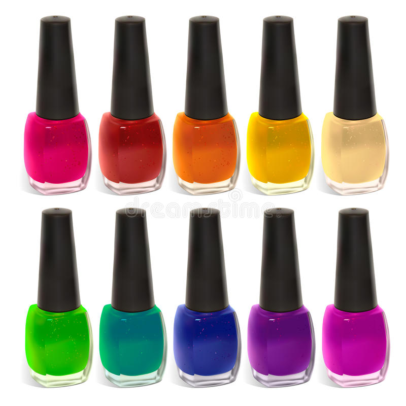 Nail polish. Multi-colored nail polish. Illustration contains gradient meshes. The label can be removed vector illustration