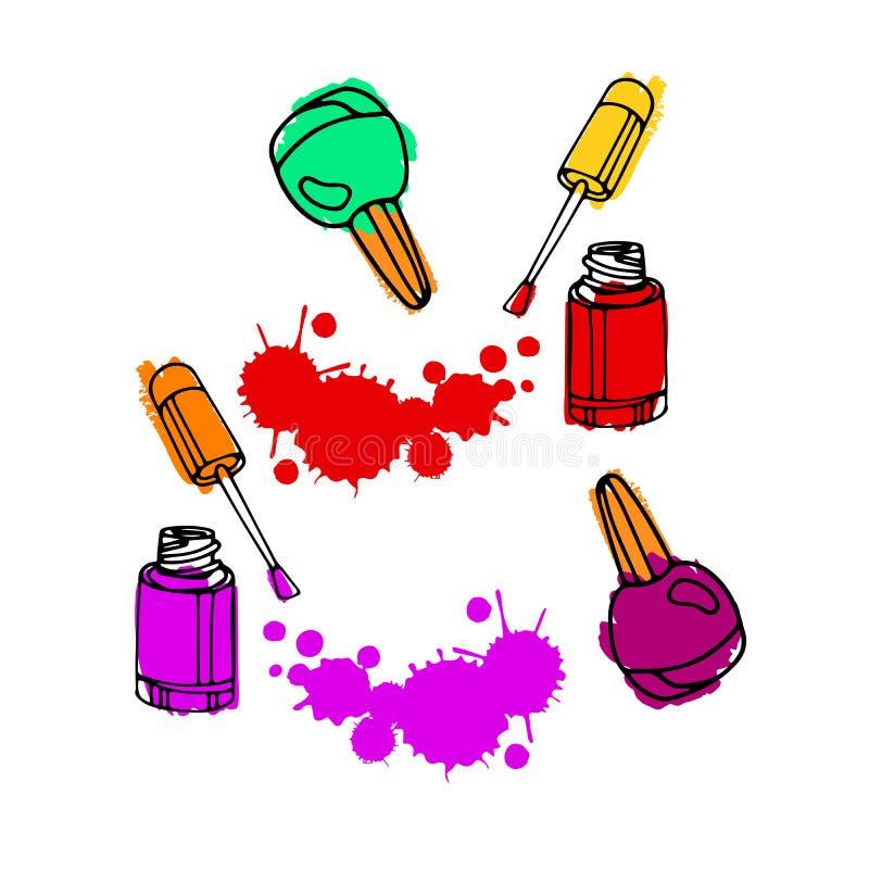 Nails Art Beauty Salon Background Stock Vector: Nail Polish. Nail Polish Drawing. Vector Nail Art Concept