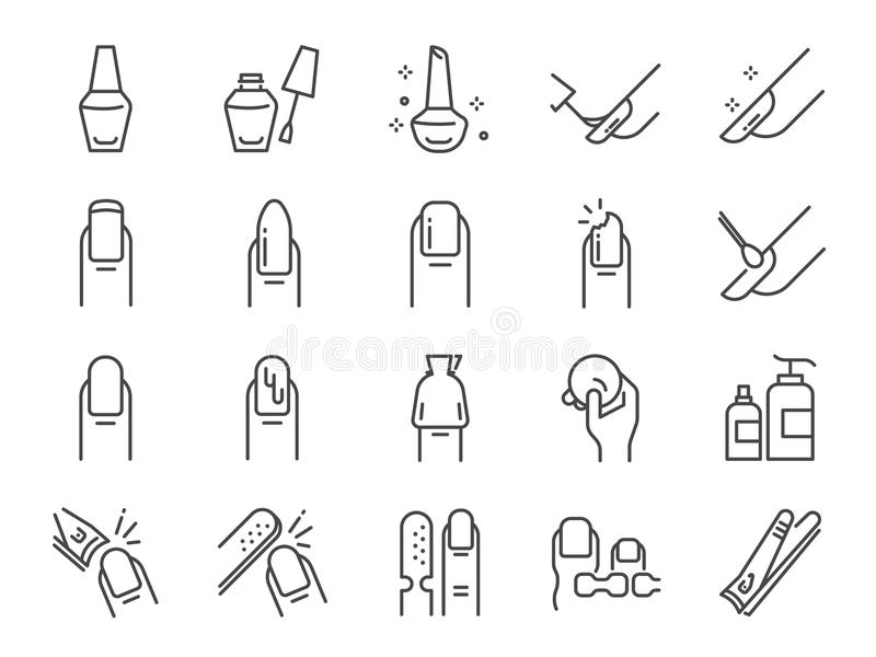 Nail polish salon icon set. Included the icons as finger, toe separator, coat, remover pad, glaze, paint, nail art and more. Vector and illustration: Nail polish stock illustration