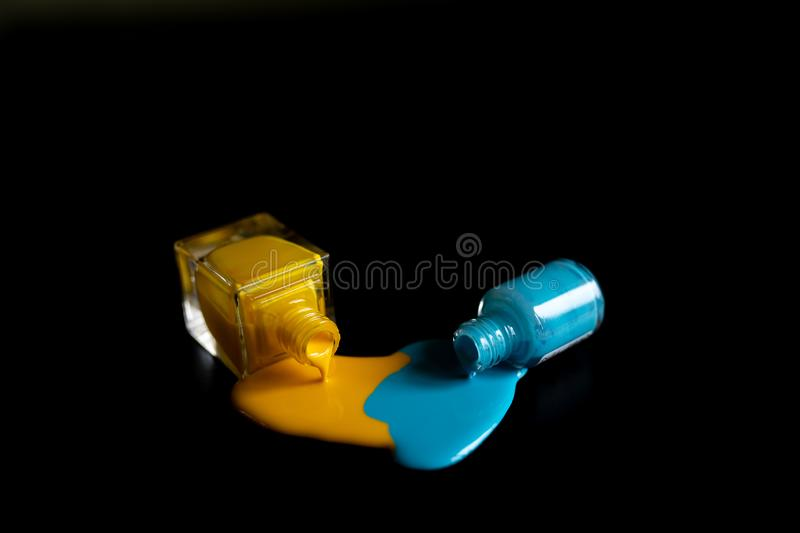 Nail polish spilled isolated on black background, clipping path included stock photography