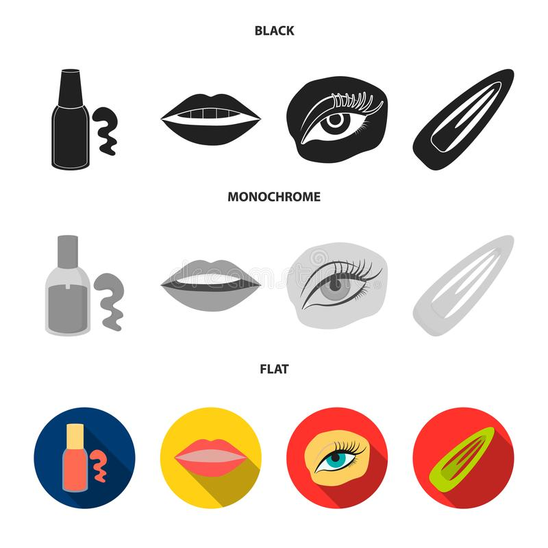 Nail polish, tinted eyelashes, lips with lipstick, hair clip.Makeup set collection icons in black, flat, monochrome. Style vector symbol stock illustration royalty free illustration