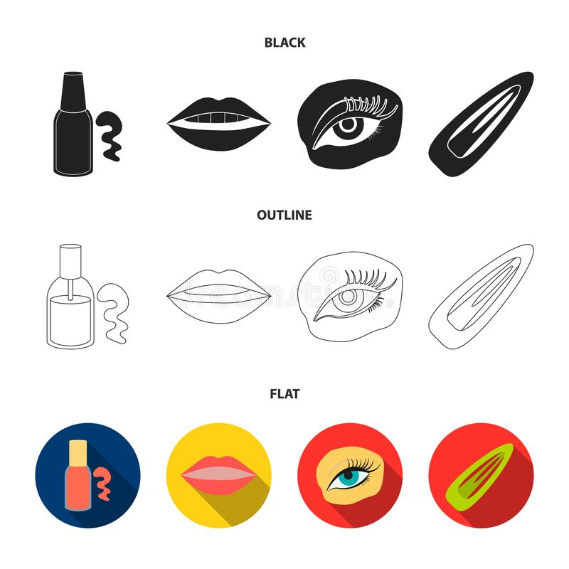 Nail polish, tinted eyelashes, lips with lipstick, hair clip.Makeup set collection icons in black,flat,outline style. Vector symbol stock illustration stock illustration