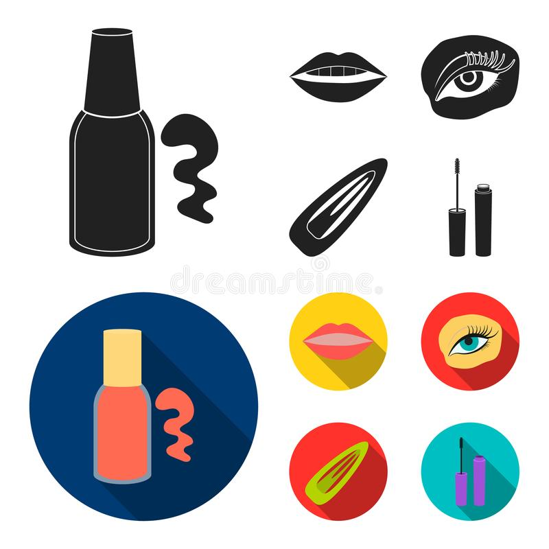 Nail polish, tinted eyelashes, lips with lipstick, hair clip.Makeup set collection icons in black, flat style vector royalty free illustration