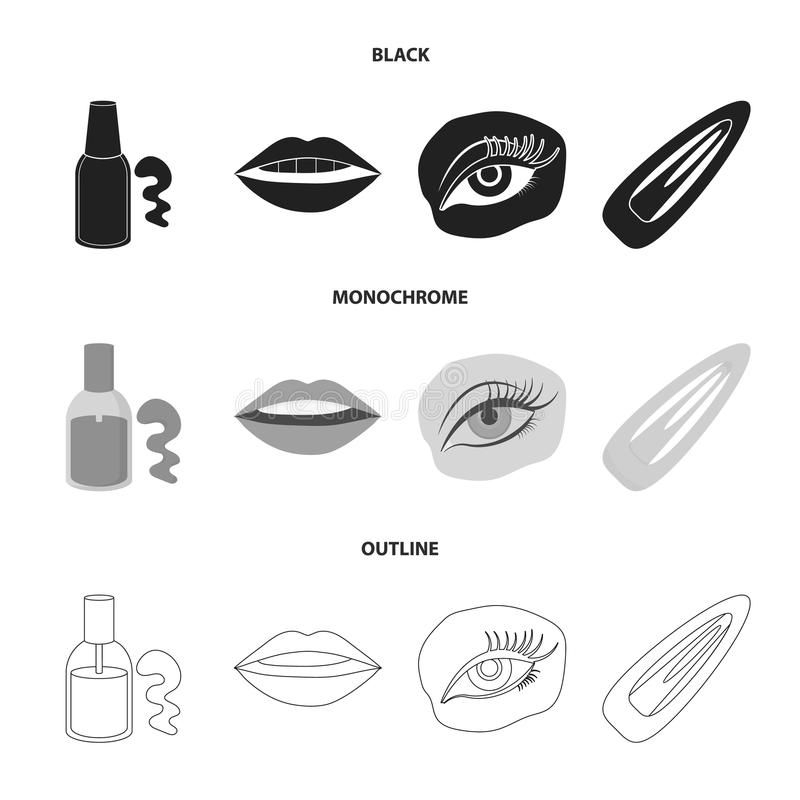 Nail polish, tinted eyelashes, lips with lipstick, hair clip.Makeup set collection icons in black,monochrome,outline. Style vector symbol stock illustration royalty free illustration