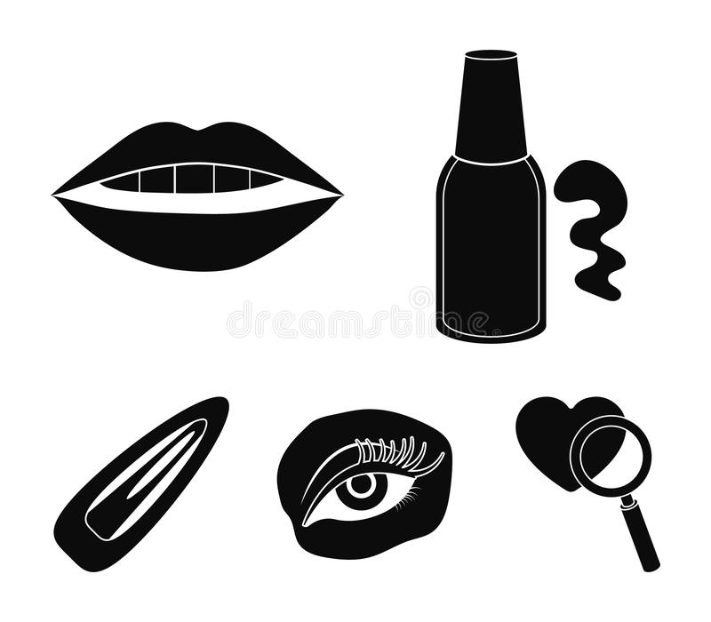 Nail polish, tinted eyelashes, lips with lipstick, hair clip.Makeup set collection icons in black style vector symbol. Stock illustration vector illustration