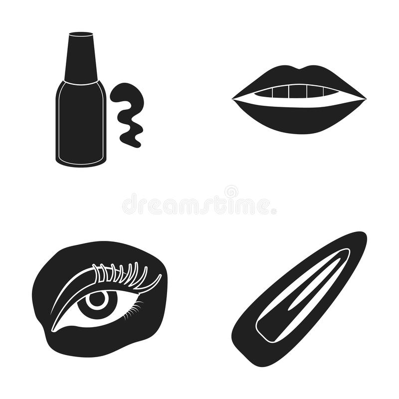 Nail polish, tinted eyelashes, lips with lipstick, hair clip.Makeup set collection icons in black style vector symbol. Stock illustration stock illustration