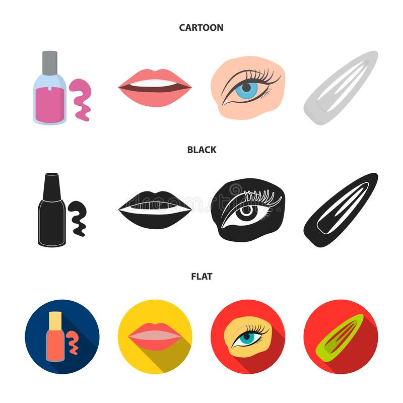 Nail polish, tinted eyelashes, lips with lipstick, hair clip.Makeup set collection icons in cartoon,black,flat style. Vector symbol stock illustration stock illustration