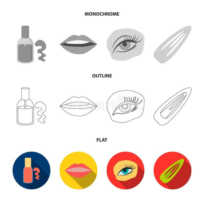Nail polish, tinted eyelashes, lips with lipstick, hair clip.Makeup set collection icons in flat,outline,monochrome. Style vector symbol stock illustration royalty free illustration