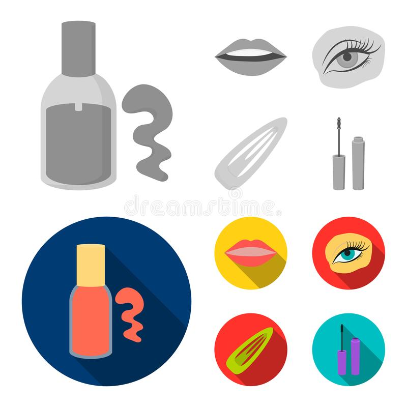 Nail polish, tinted eyelashes, lips with lipstick, hair clip.Makeup set collection icons in monochrome,flat style vector. Symbol stock illustration royalty free illustration
