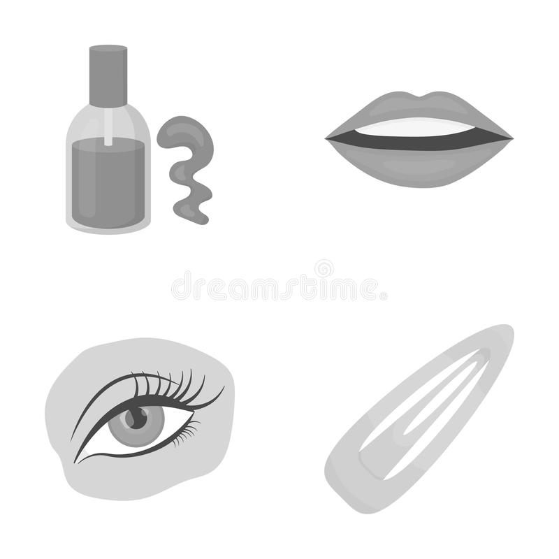 Nail polish, tinted eyelashes, lips with lipstick, hair clip.Makeup set collection icons in monochrome style vector. Symbol stock illustration royalty free illustration