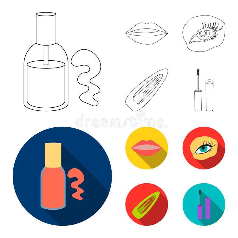 Nail polish, tinted eyelashes, lips with lipstick, hair clip.Makeup set collection icons in outline,flat style vector. Symbol stock illustration royalty free illustration