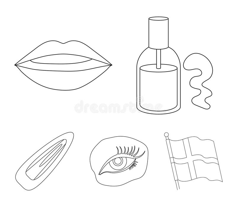 Nail polish, tinted eyelashes, lips with lipstick, hair clip.Makeup set collection icons in outline style vector symbol. Stock illustration stock illustration
