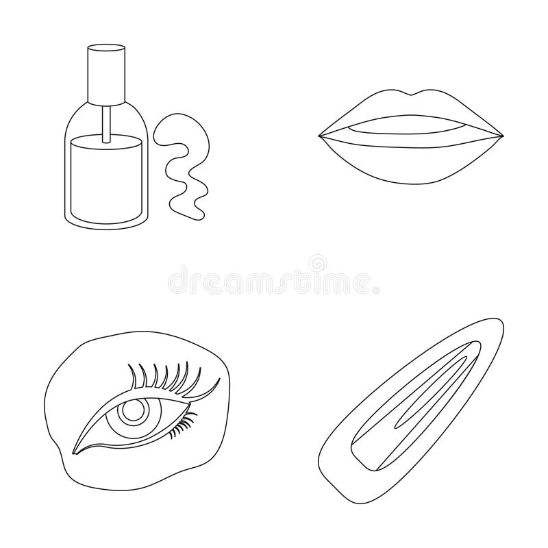 Nail polish, tinted eyelashes, lips with lipstick, hair clip.Makeup set collection icons in outline style vector symbol. Stock illustration vector illustration