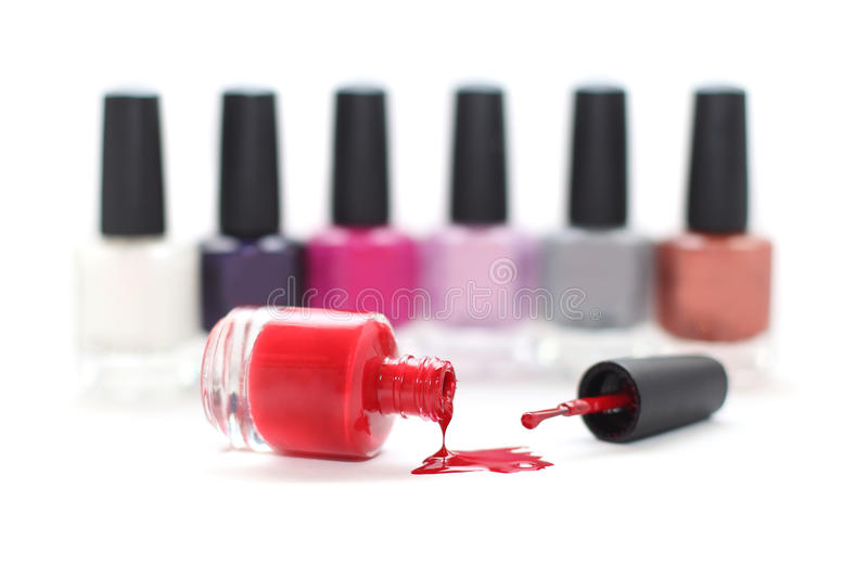 Nail polish on white stock photo