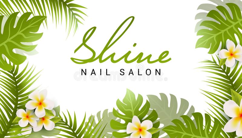 Nail salon business card design. Manicure beauty salon banner with tropic leaves and flower vector illustration