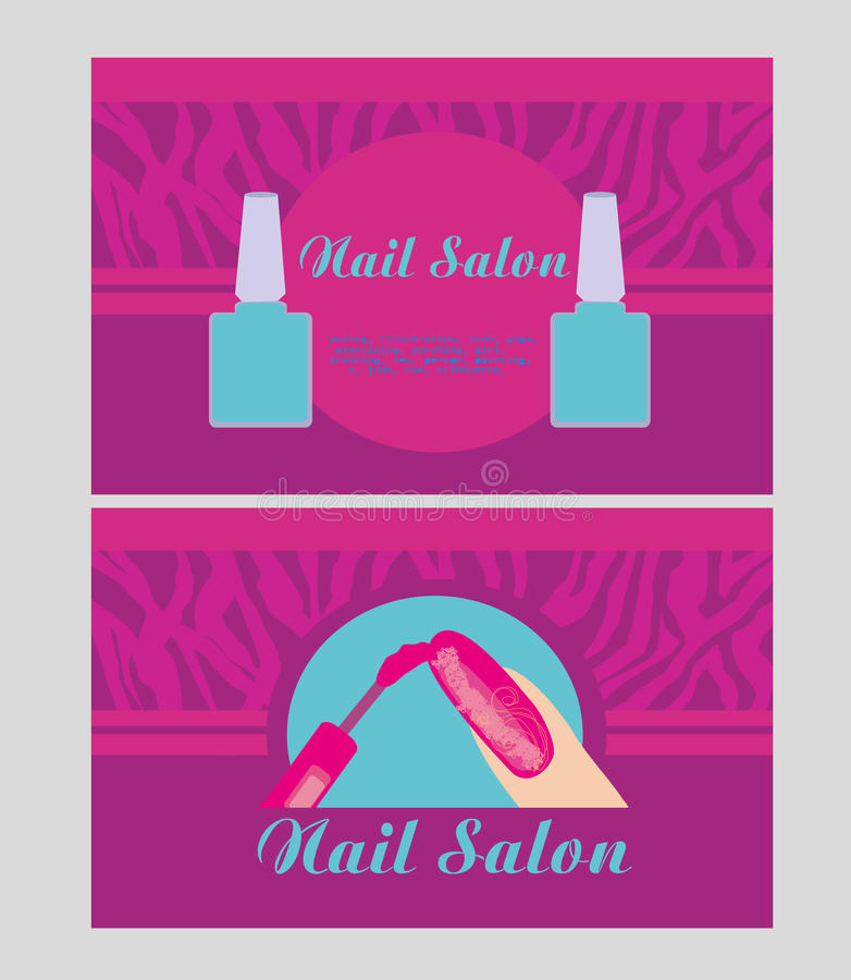 Nail Salon Design Of Business Cards Stock Vector - Illustration of ...