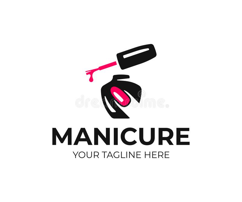 Nail salon logo design. Manicure vector design. Nail polish and female finger logotype stock illustration