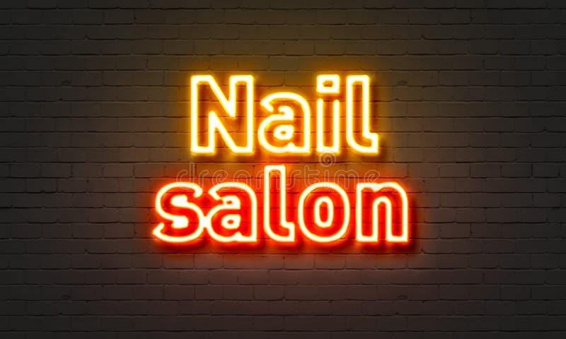 Nail Salon Neon Sign On Brick Wall Background. Stock Illustration ...