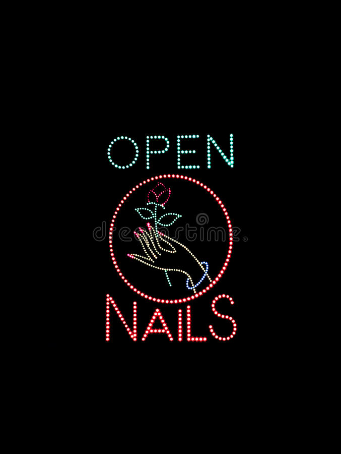 Download Nail Salon Open Sign stock photo. Image of glow, hand - 12499134