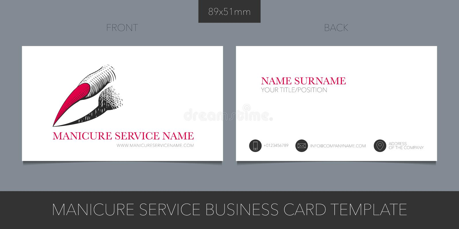 Nail service, manicure salon vector business card template with corporate logo vector illustration