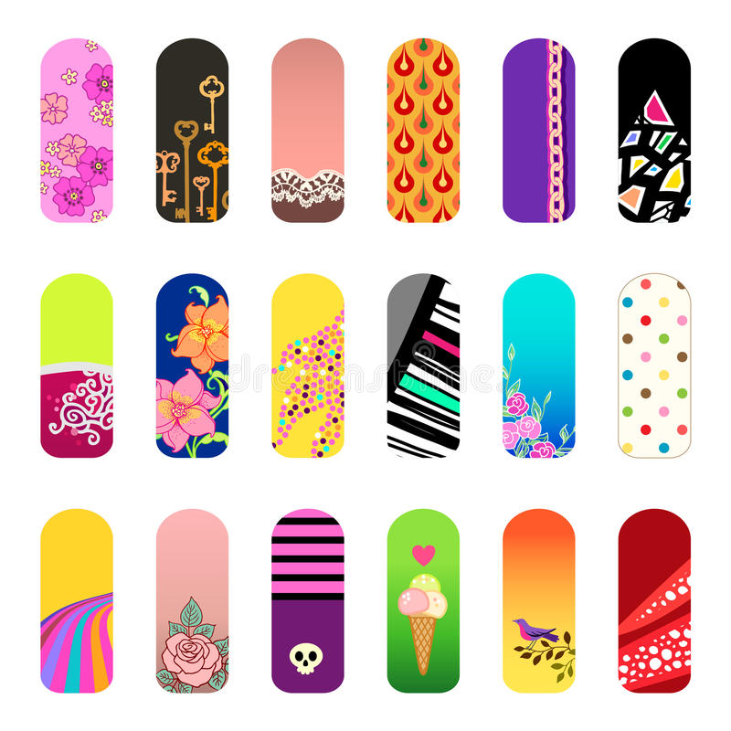 Nail stickers. Set of nail art designs for beauty salon stock illustration