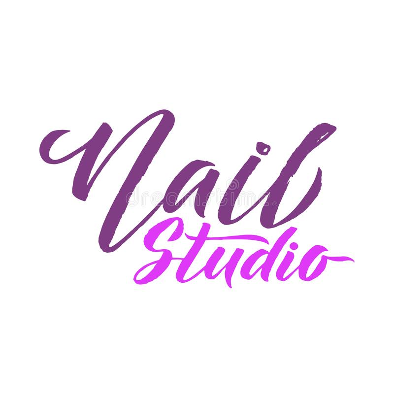 Nail Studio Logo Beauty Vector Lettering. Manicure Custom Handma ...