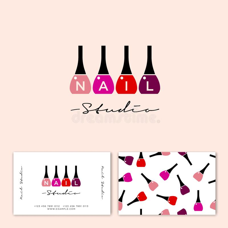 Nail studio logo. Multi-colored nail polish and letters. Nail polish on a light background. Identity. Business card