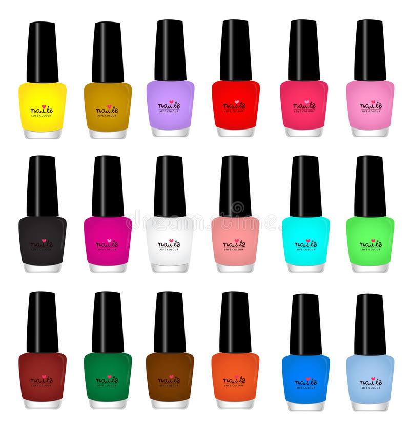 Nail varnish. Multicolored on white background stock illustration