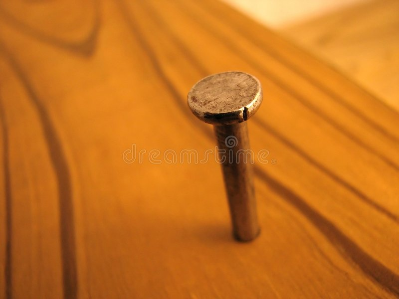 Download Nail in wood board stock image. Image of spike, grain - 3923203