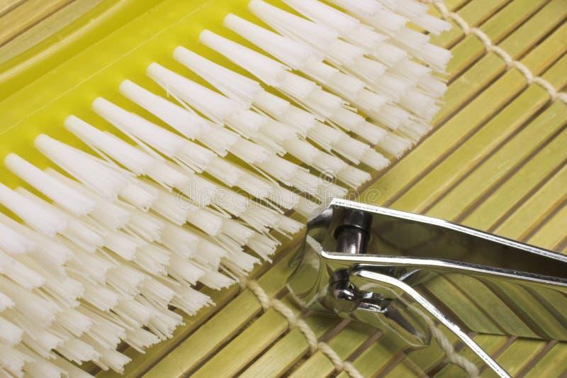 Nailbrush. And nailclipper royalty free stock image