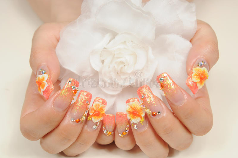 Nails. Woman hand with different nails stock photo