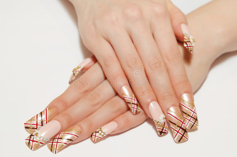 Nails. Woman hand with different nails stock photography