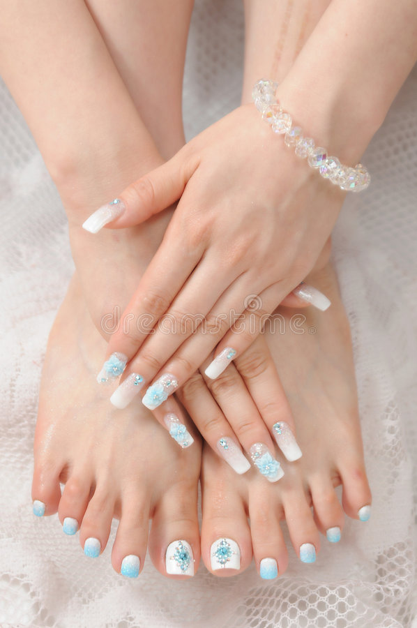 Nails. Woman hand with different nails stock image