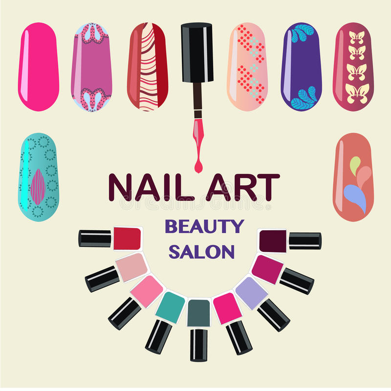 Nails Art Beauty Salon Background Stock Vector