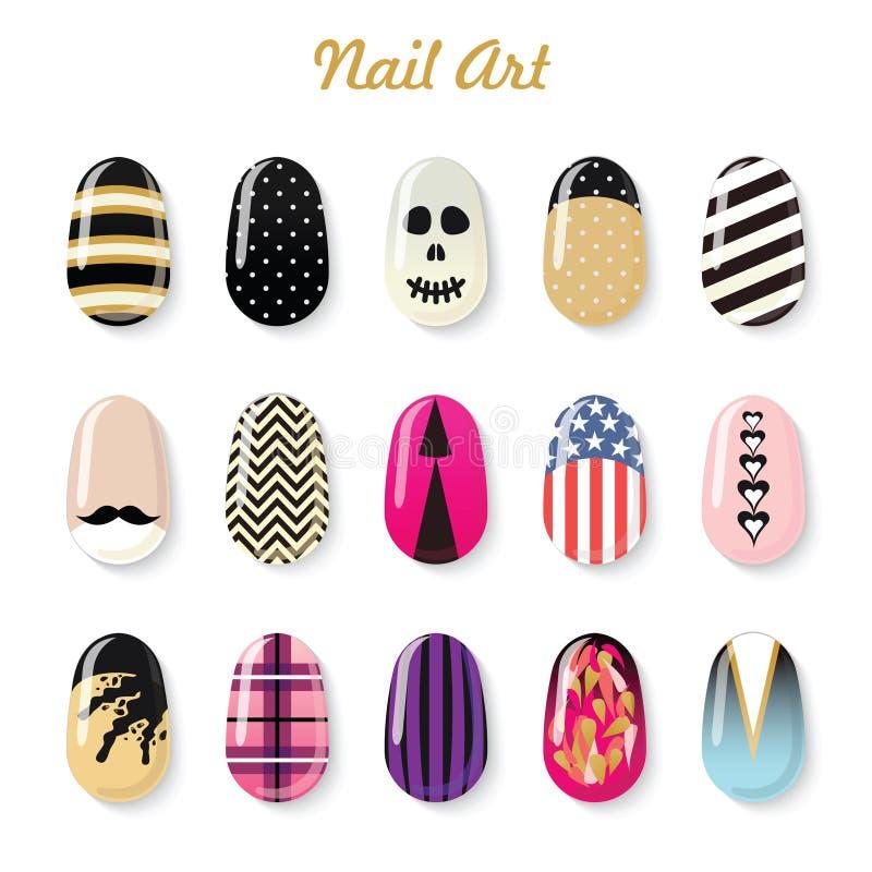 Nails art templates and polish bottle for manicure salon service vector illustration