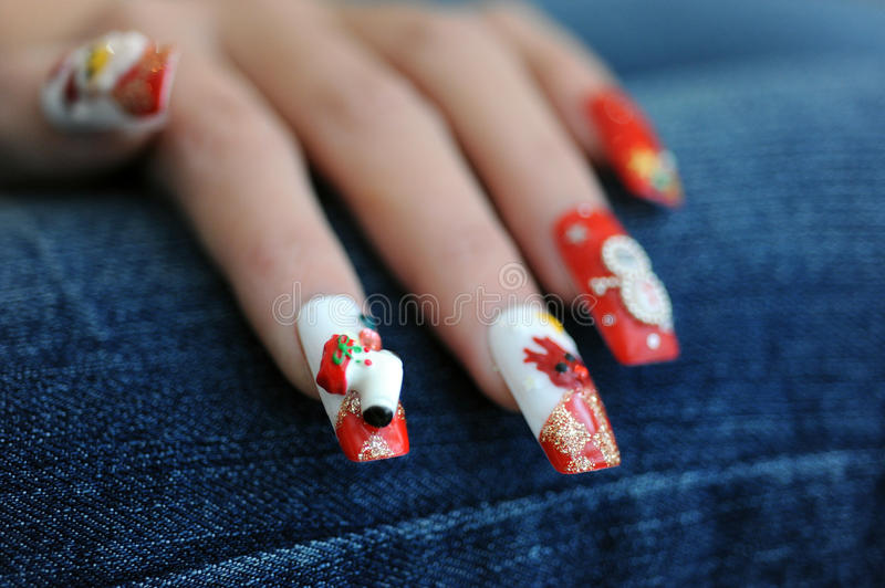 Nails For Christmas Time Stock Images