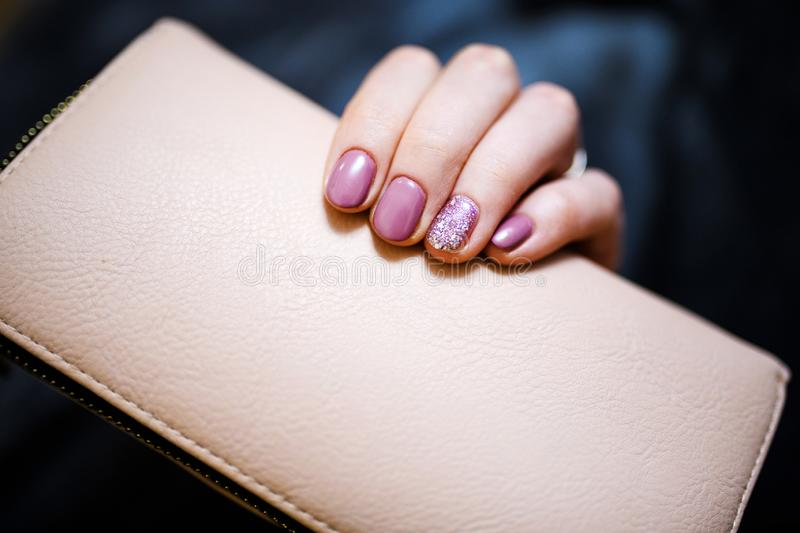 Nails Design. Hands With Bright Pink Spring Manicure On Grey Background. Close Up Of Female Hands. Art Nail. Nails Design. Hands With Bright Pink royalty free stock images