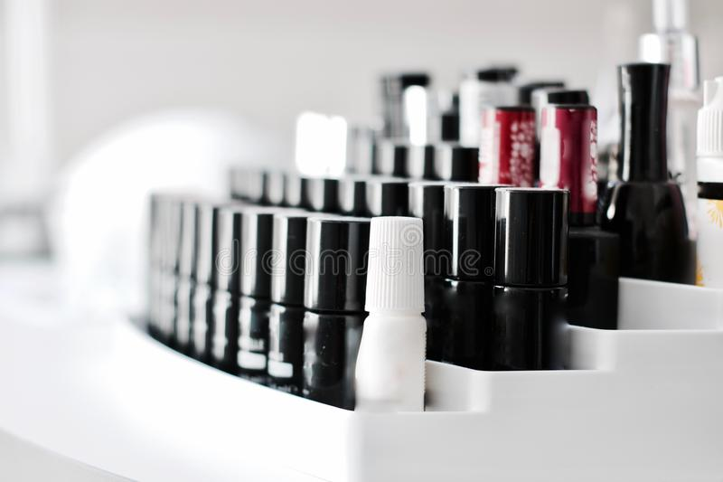 Nails lacquer in small bottles royalty free stock images