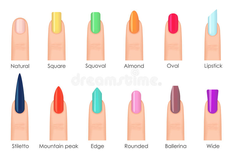 Nails shape icons set. Types of fashion bright colour nail shapes collection. Fashion nails type trends. Beauty spa stock illustration