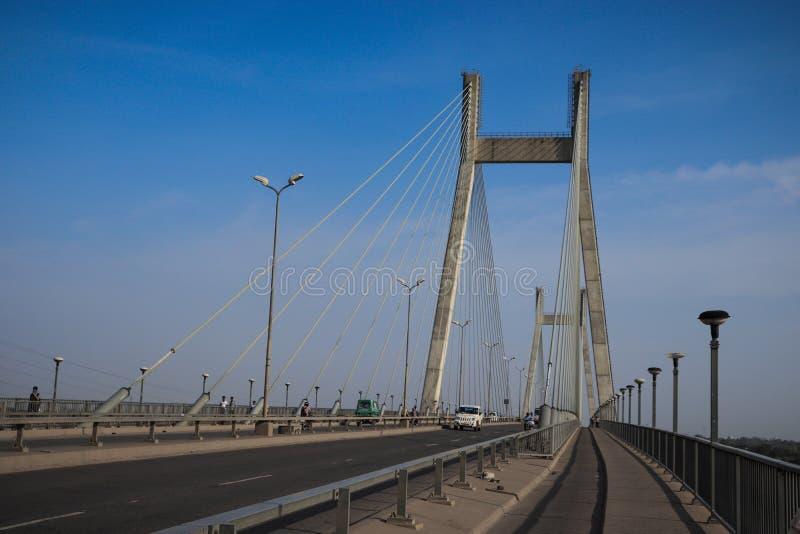 Naini Bridge. TheOld Naini Bridgeis one of the longest and oldest bridges inIndia, located inAllahabad. It is adouble-deckedsteeltruss bridgewhich runs across royalty free stock photos
