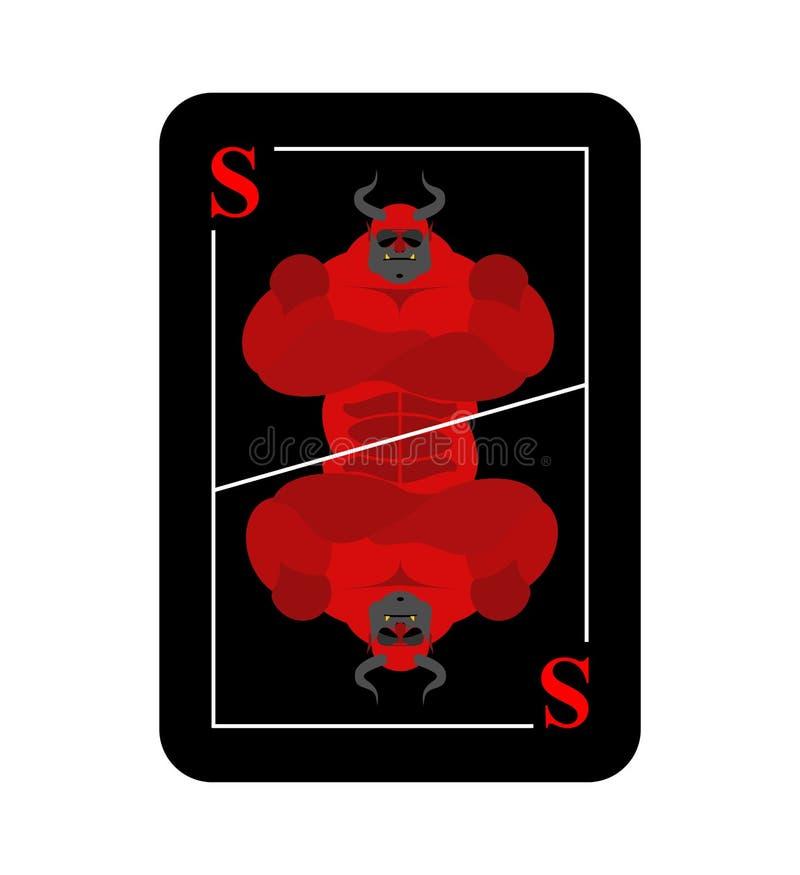 Naipe Satanás Nuevo diablo conceptual de la tarjeta Horne rojo temido stock de ilustración