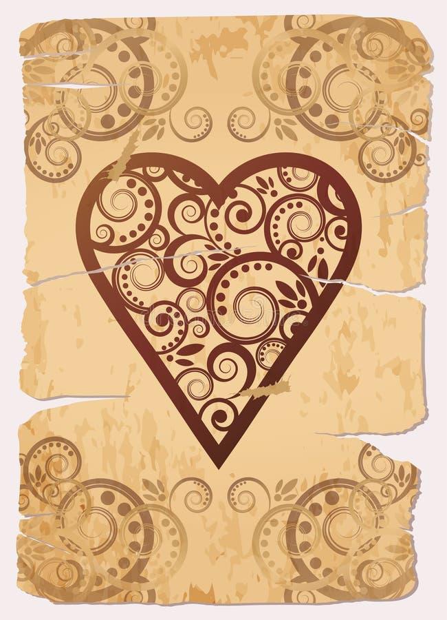 Naipes del póker del as de los corazones del vintage ilustración del vector