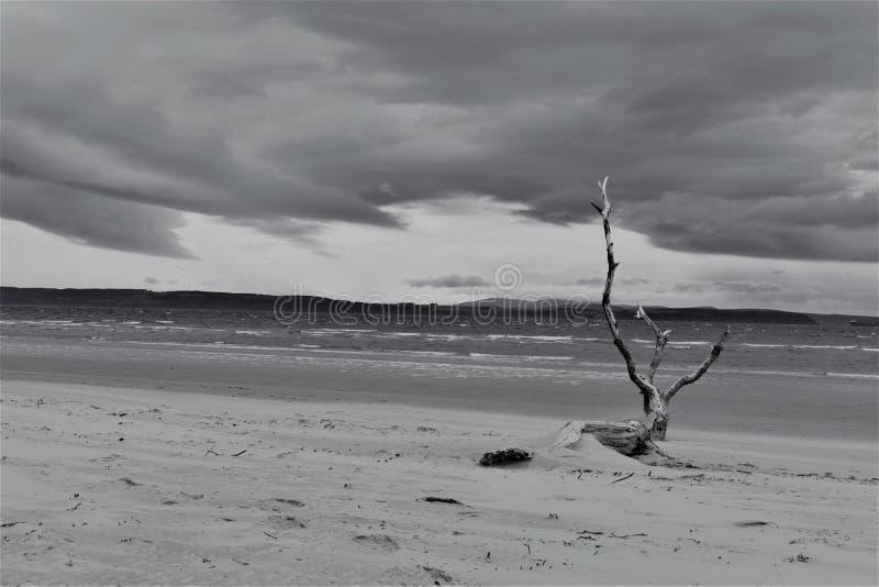 Nairn, montagnes écossaises, plage est au coucher du soleil photographie stock