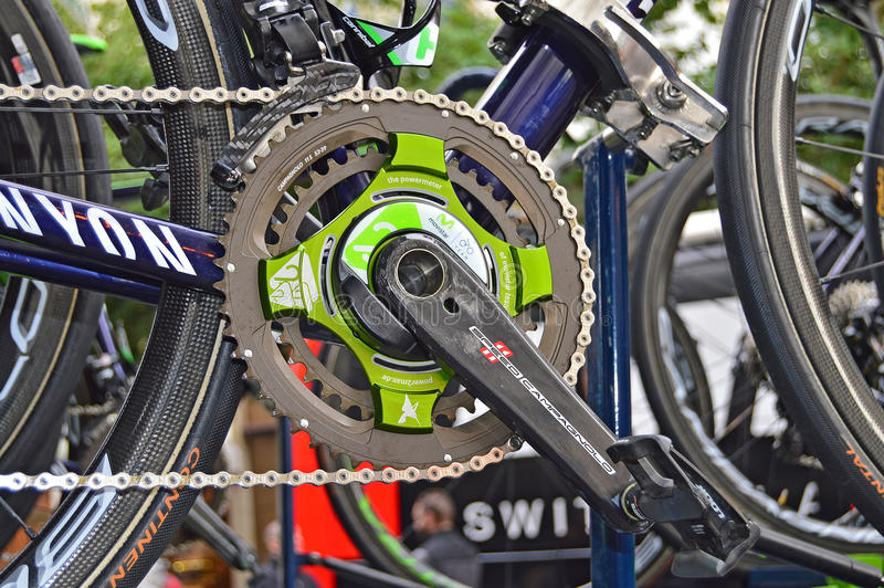 Nairo Quintana Power Meter On His Race Bike royalty free stock photo