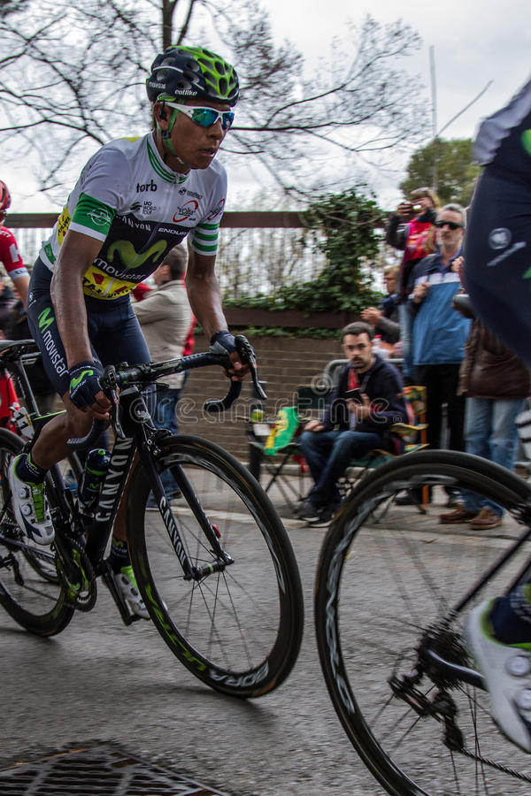 Nairo Quintana. Winning the 2016 Volta a Catalunya, here the final stage on Monjuïc in Barcelona stock images