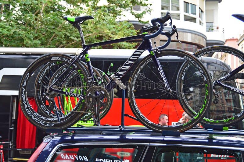 Nairo Quintanas Team Movistar Bike stock images