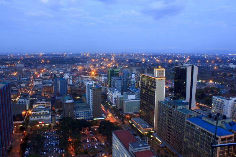 Nairobi Kenia bij Nacht stock foto's