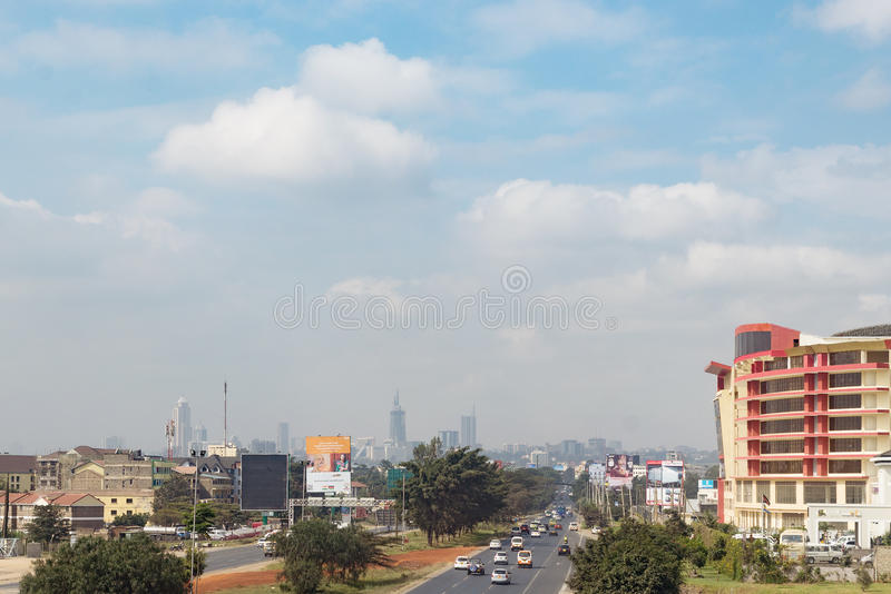 Nairobi Kenya, Africa city town suburb countryside road. Savana stock image