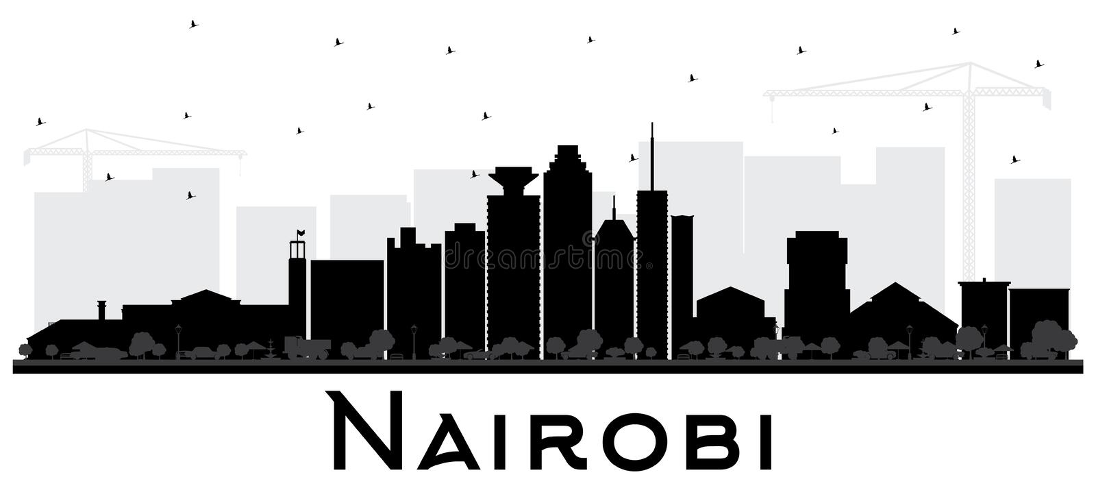 Nairobi Kenya City Skyline Silhouette with Black Buildings Isolated on White. Vector Illustration. Business Travel and Concept with Modern Architecture vector illustration