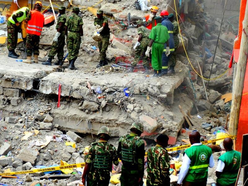 Nairobi-Kenya kollapsat byggande royaltyfri foto